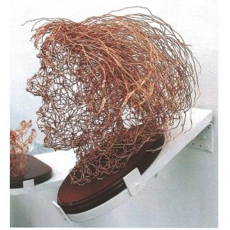 Resilience wire head with hair on wooden plinth attached to wall using sloping free standing plinth