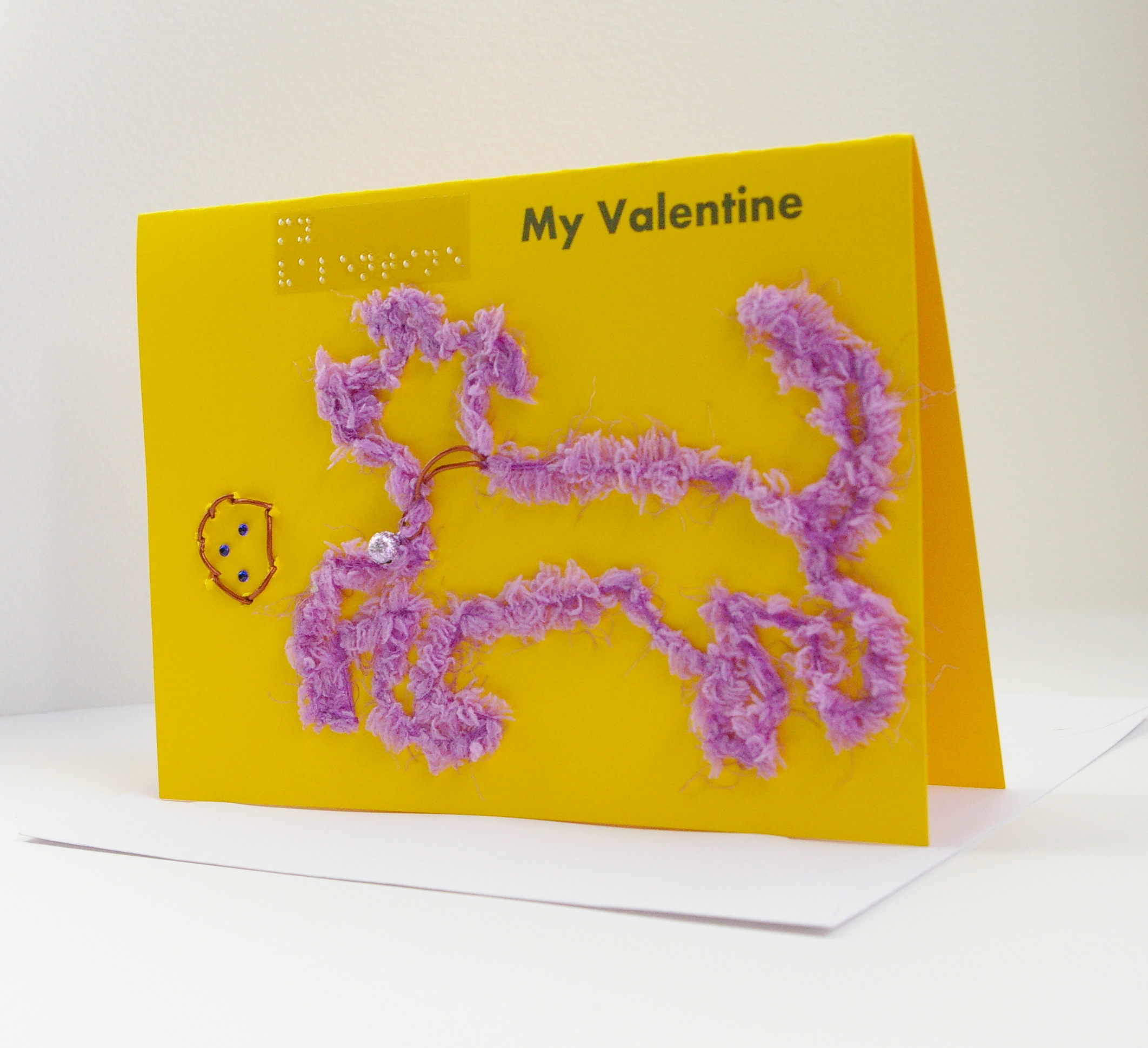 landscape yellow card with lilac fluffy dog and ball my valentine's card