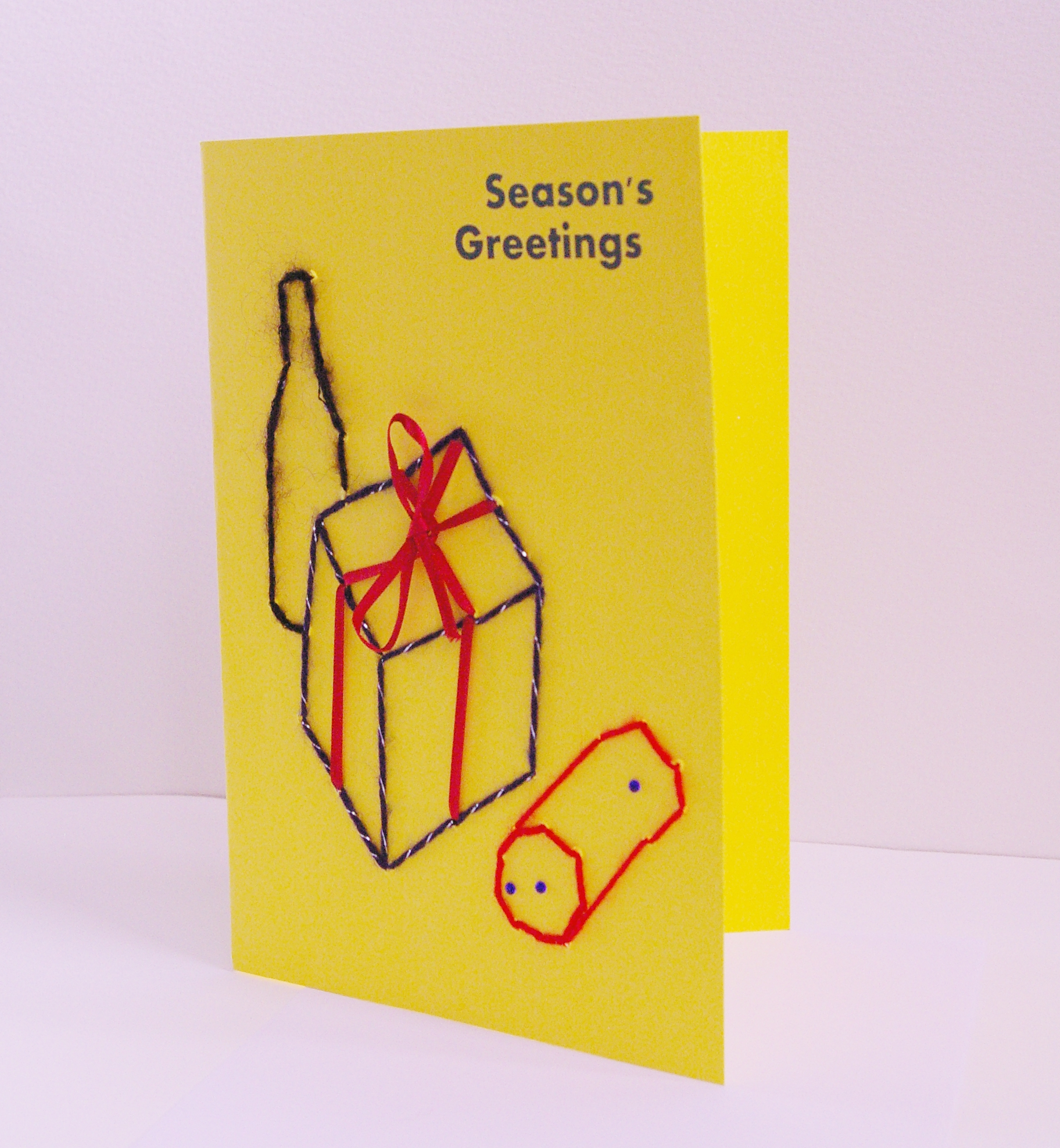 portrait style yellow card pressies image season's greetings card