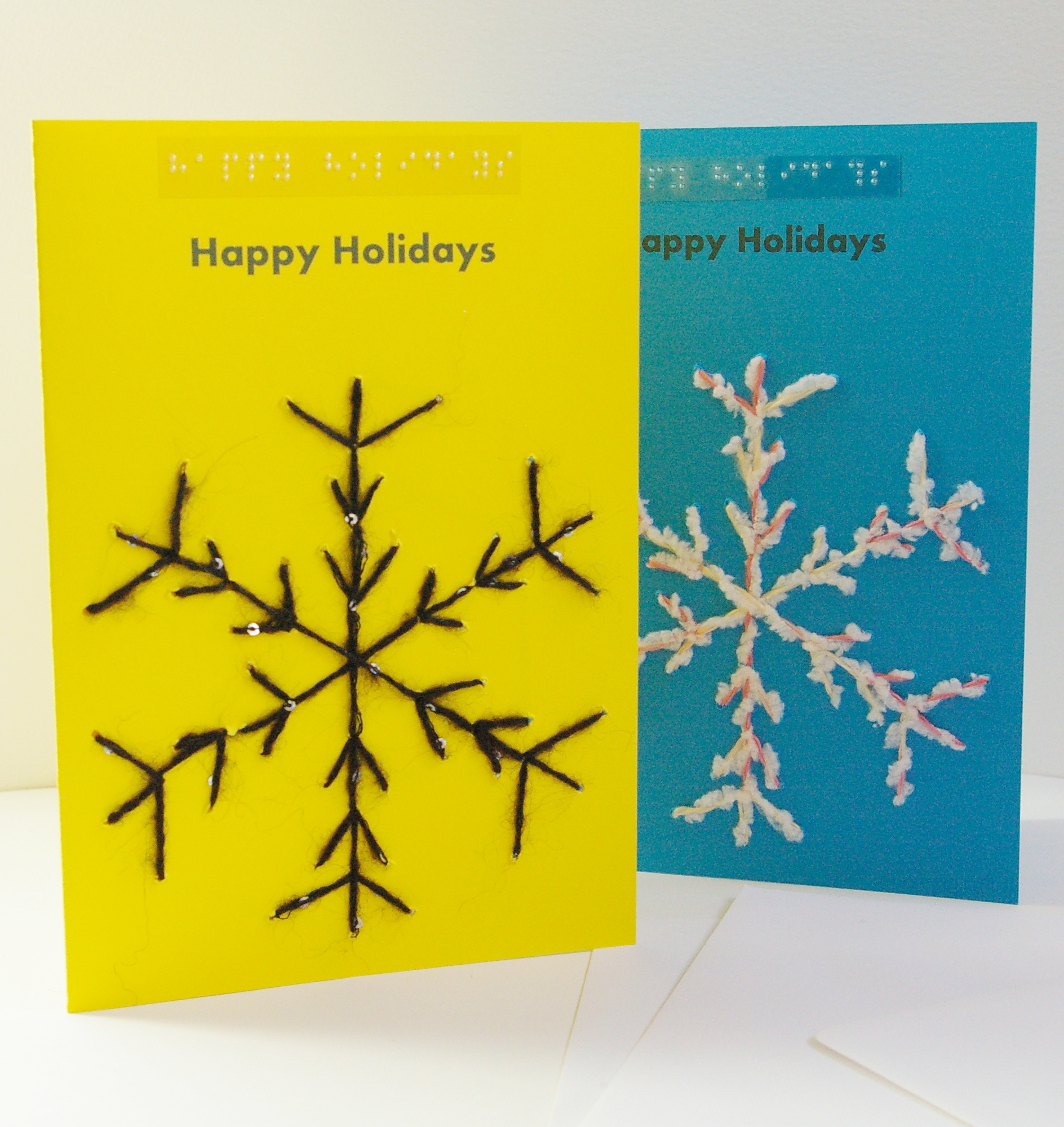 portrait style yellow and blue snowflake happy holiday cards