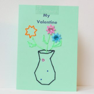 vase of flowers with gem stone stickers my valentine's card portrait