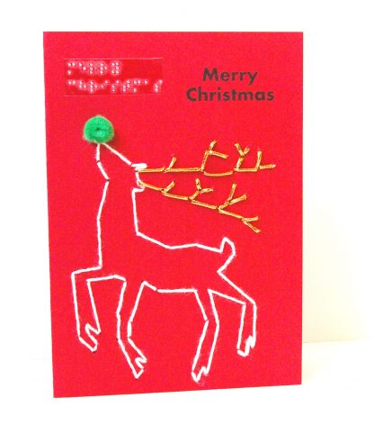 dancing reindeer with glitter antlers and pom pom nose