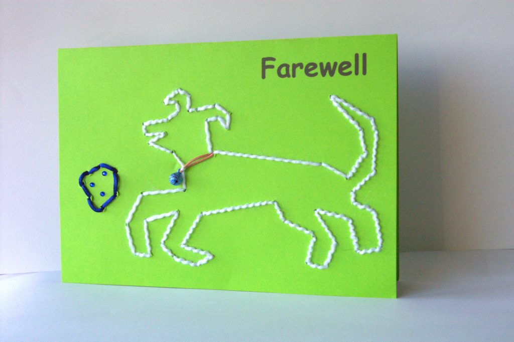 Landscape green card with white wool dog playing with blue ball